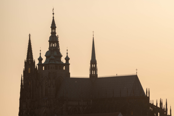 St. Vitus Cathedral against the sunset