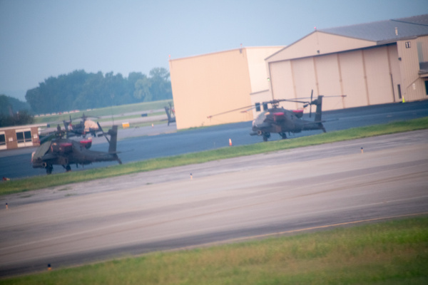 Apache helicopters , probably with the Air Nati by...