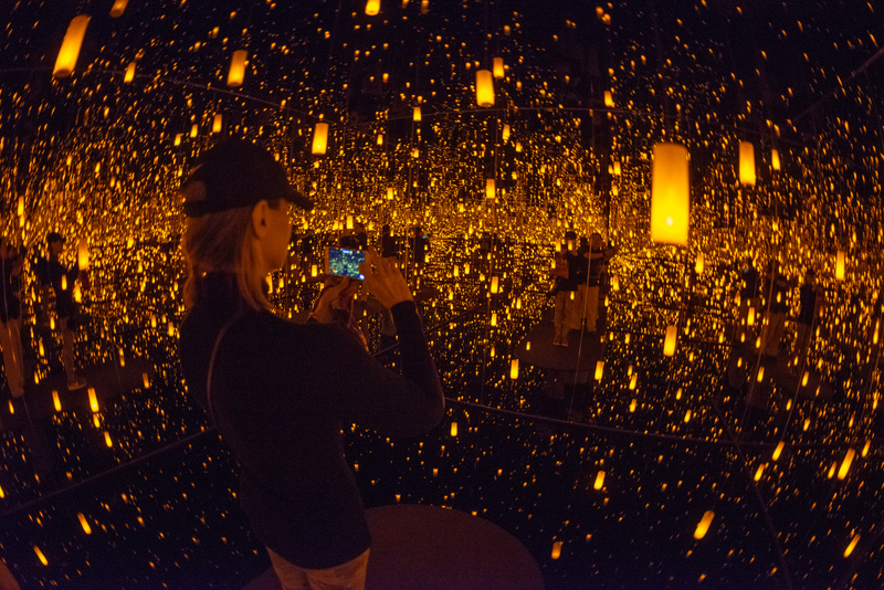 Inside the Infinity Room by Yayoi Kusama at the Bellagio Gallery of Fine Arts