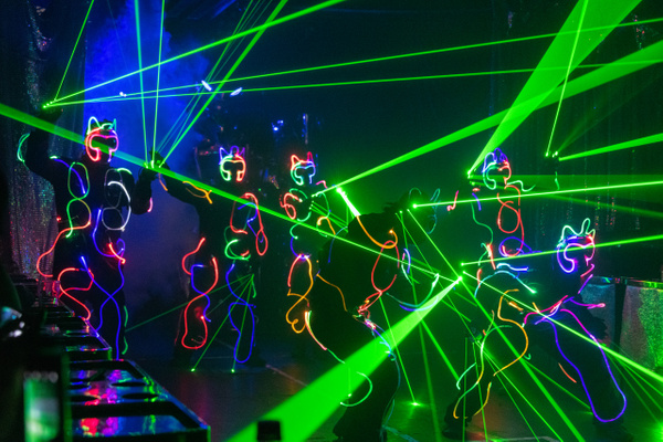 Blackout dancing with lasers