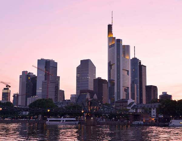 Frankfurt skyline and Main River