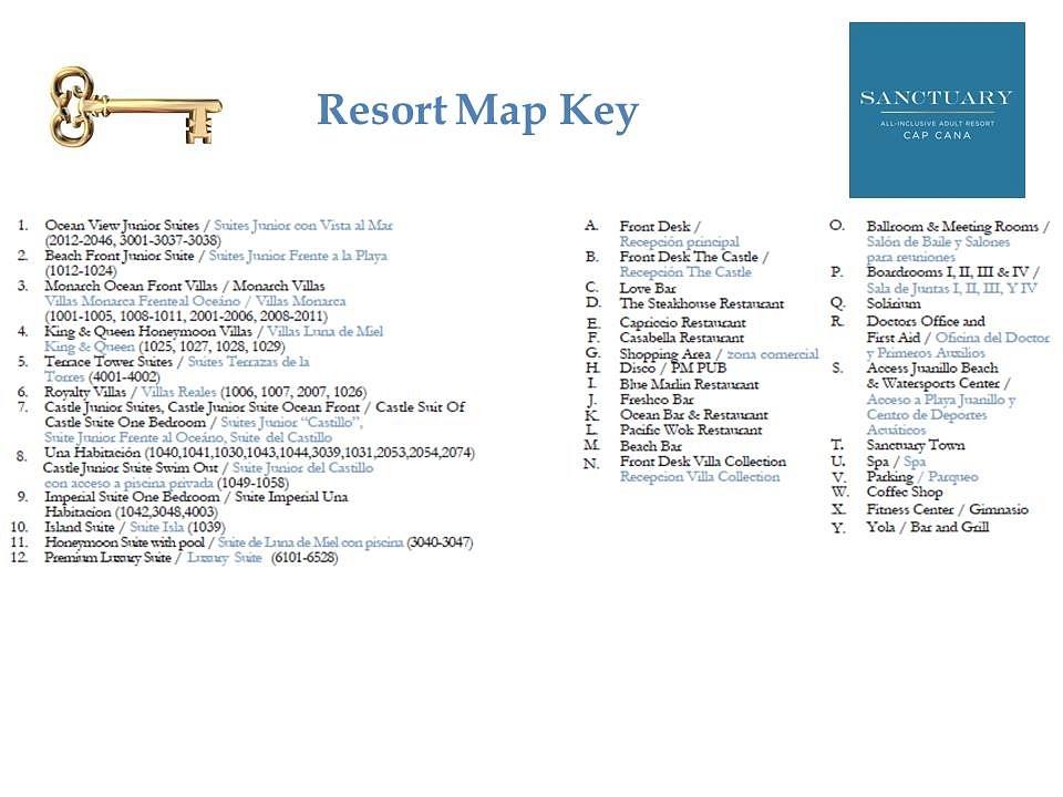 Sanctuary Cap Cana Resort Map Key_2019 by flipflopman on