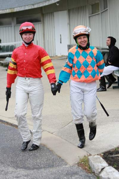 Janice Blake and an unknown jockey