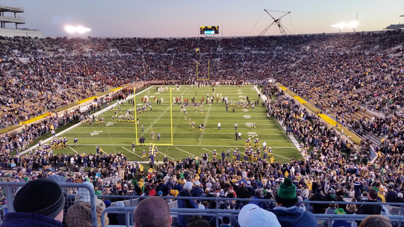 ND Stadium. The crowd assembles