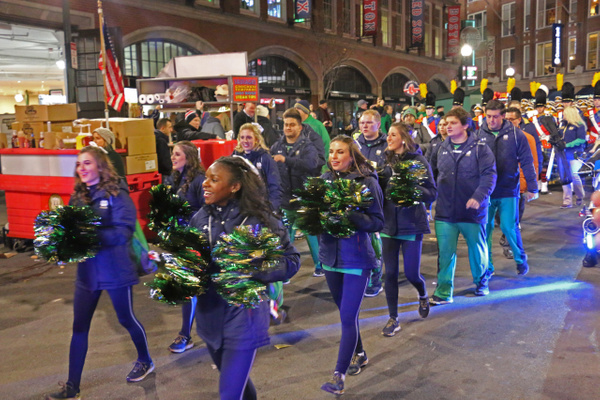 ND's Cheerleaders entering Fenway