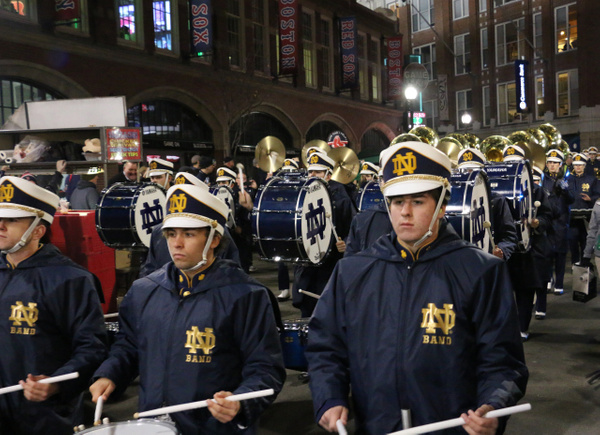 ND Band march down Lansdowne