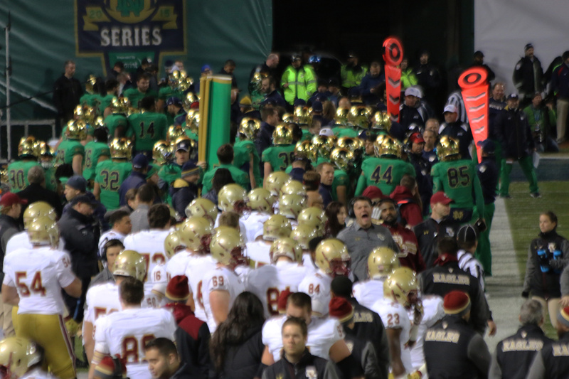 Because of the gridiron configuration both teams were on the same sideline