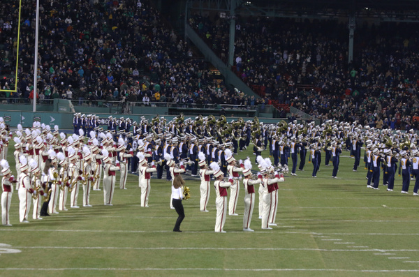 The combined BC and ND Bands play a Fenway Anthem,'Sweet Caroline'