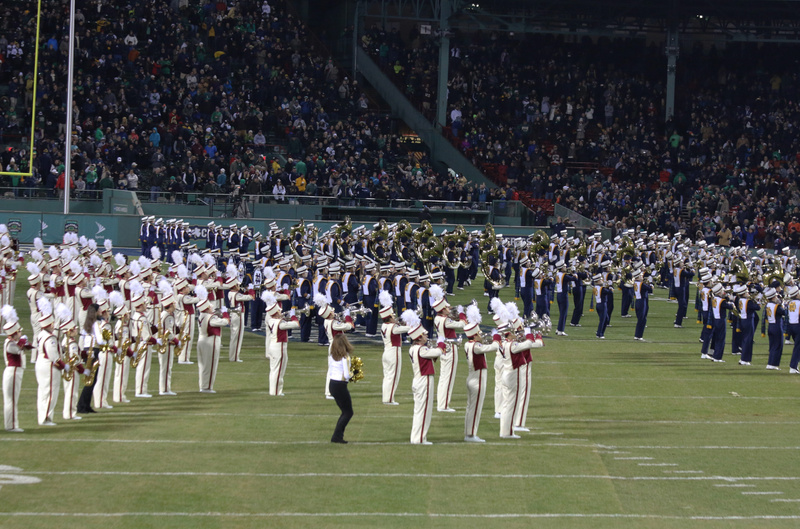 The combined BC and ND Bands play a Fenway Anthem,