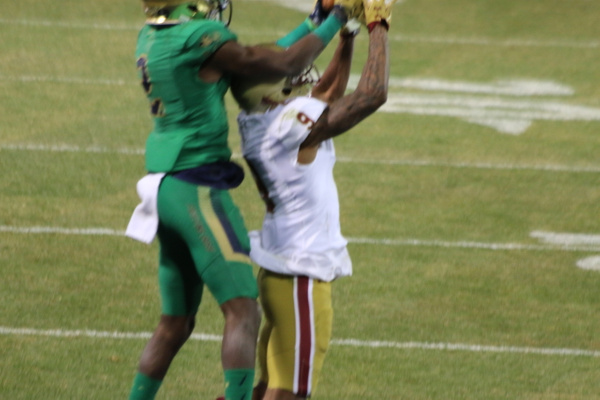 Chris Brown snatches the ball from a BC defender in the end zone. This play won the game.