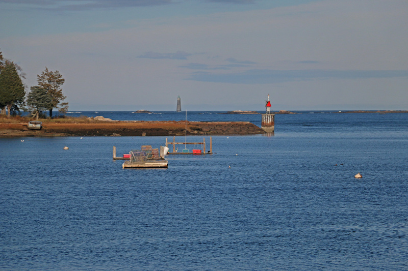 Cohasset Harbor.  Minot's Ledge Lighthouse in the distance