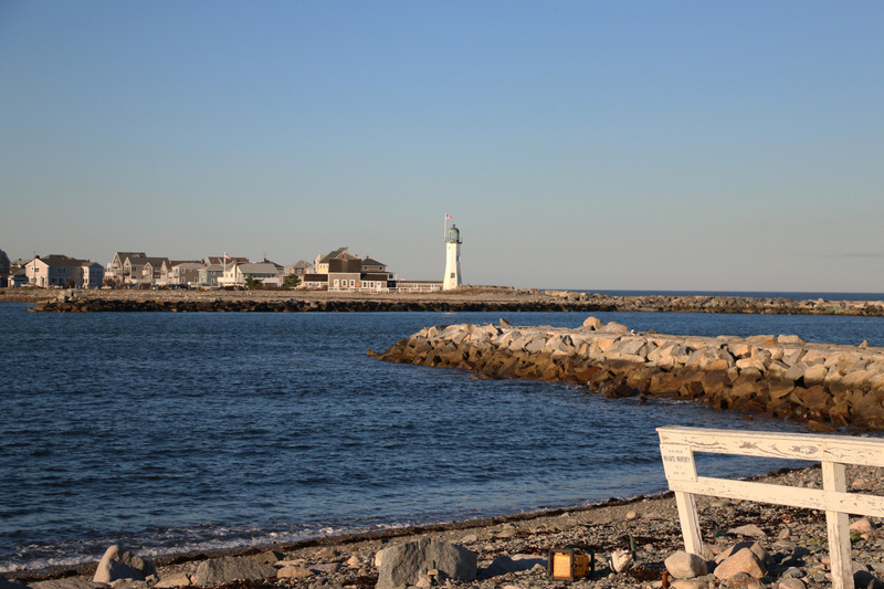 The entrance to Scituate Harbor from the south