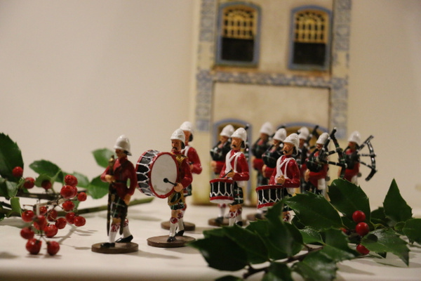 The British Pipe and Drum band appears every year before Christmas