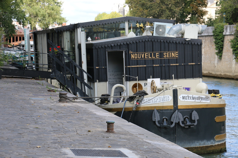 A river barge converted to a small restaurant