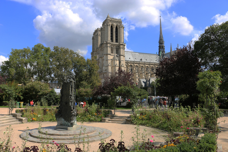 A fine view of Notre Dame from a small park in the Latin Quarter