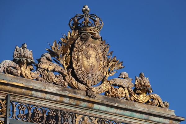 Versailles, Main Gate detail-Imperial Crown and France's Fleur de Lis arms.