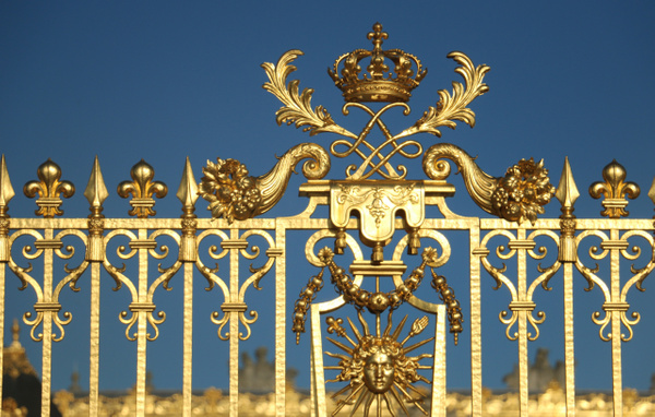 Detail-The guilded fence. Center bottom-The Sun King motif. Louis XIV's chose the sun as his emblem