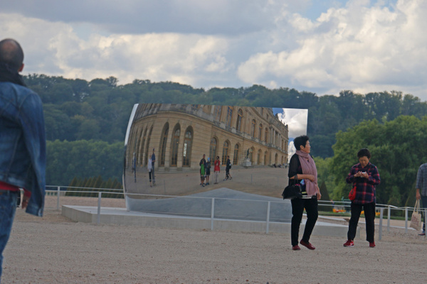 The Gardens of Versailles-C Curve Glass and Steel Sculpture by Indian-British artist Anish Kapoor
