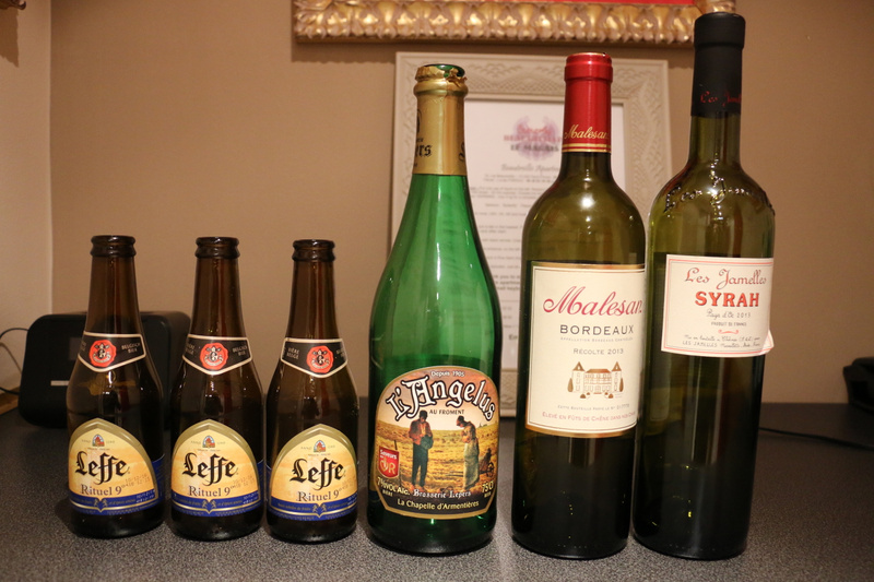 Leffe and L'Angelus Belgian Beer and French Bordeaux and Syrah provided refreshment this week