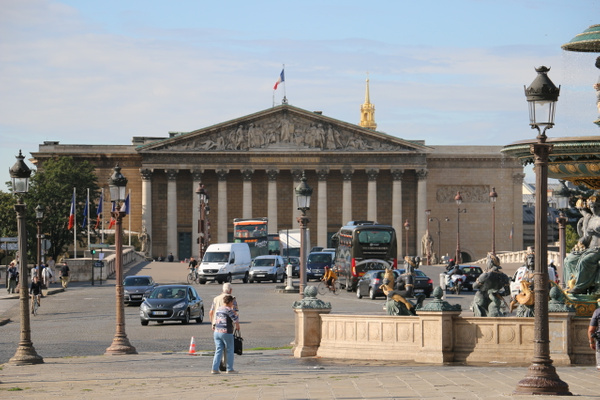 Palais Bourbon home of the French the National Assembly viewed from Place de la Concorde