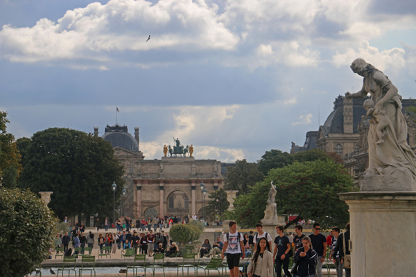 Tuileries Garden approaching Place du Carrousel and The Louvre