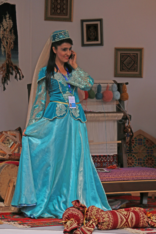An Azerbaijani beauty  at an Azerbaijan exhibit near the Palais Royal
