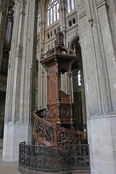 Church of St Eustace-Ornately carved pulpit