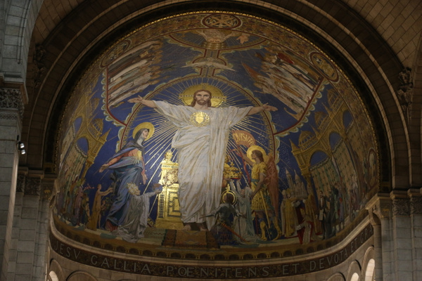 Sacré-Cœur Basilica-A mosaic in the apse, entitled Christ in Majesty, created by Luc-Olivier Merson