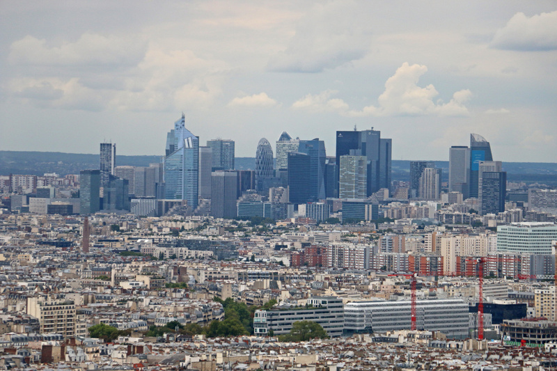 View of La Defense business district from the top of Sacré-Cœur