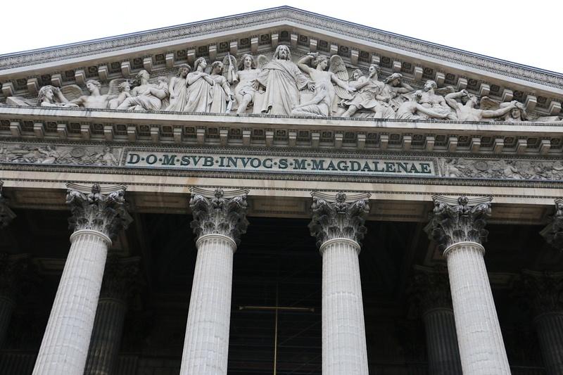 Facade of La Madeleine-Pediment sculpture of the Last Judgement