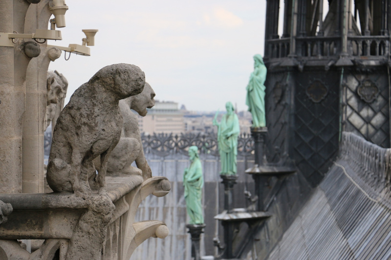A chimera severely eroded oved the centuries, Cathedral of Notre Dame