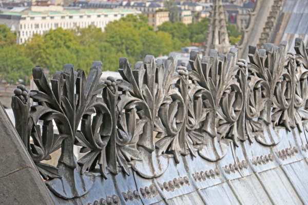 Iron filigree decorating the roof line of the Cathedral of Notre Dame