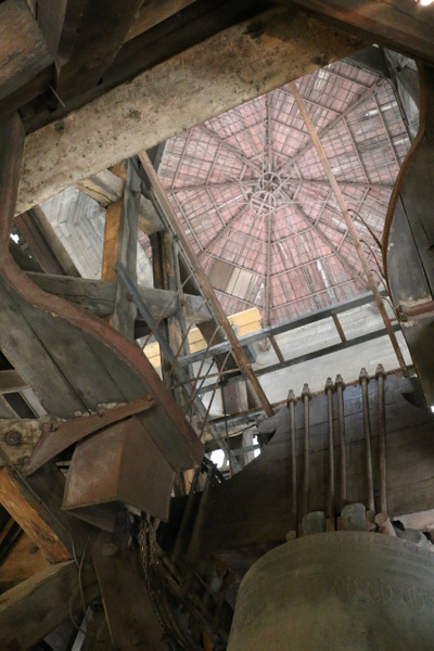Looking up into the south tower of  the Cathedral of Notre Dame