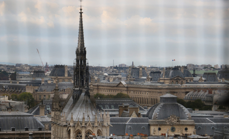 The spire of Sainte Chapell from the  Cathedral of Notre Dame