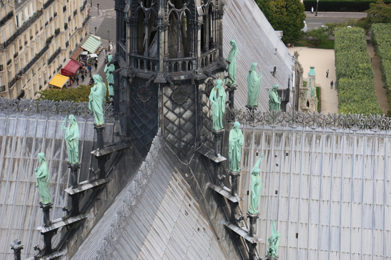 The Apostles statues from the top of Notre Dame's south tower