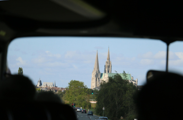 Chartes comes into view, dominated by its famous cathedral