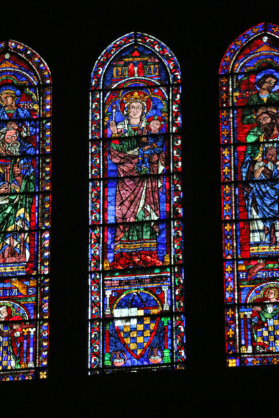 Chartres Cathedral-Lancet windows below the south transept rose window