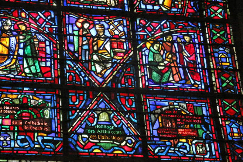 Chartres Cathedral-A relatively modern window honoring the Society of American Architects