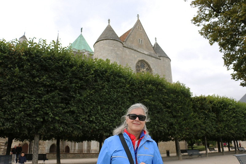 Georgia in front of the Chapel of Saint Piat, on the east side of Chartres Cathedral