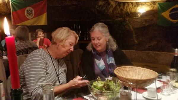 Jean and Georgia examine the small bowl of pork pâté, a house specilaty