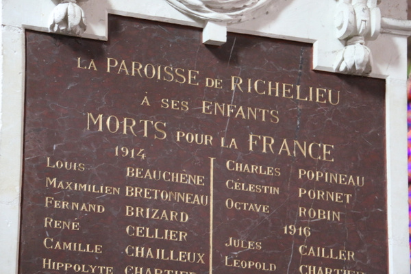 'The Youth of the Parish of Richelieu who  died for France'. Fifty eight, from a town of only 2,000.