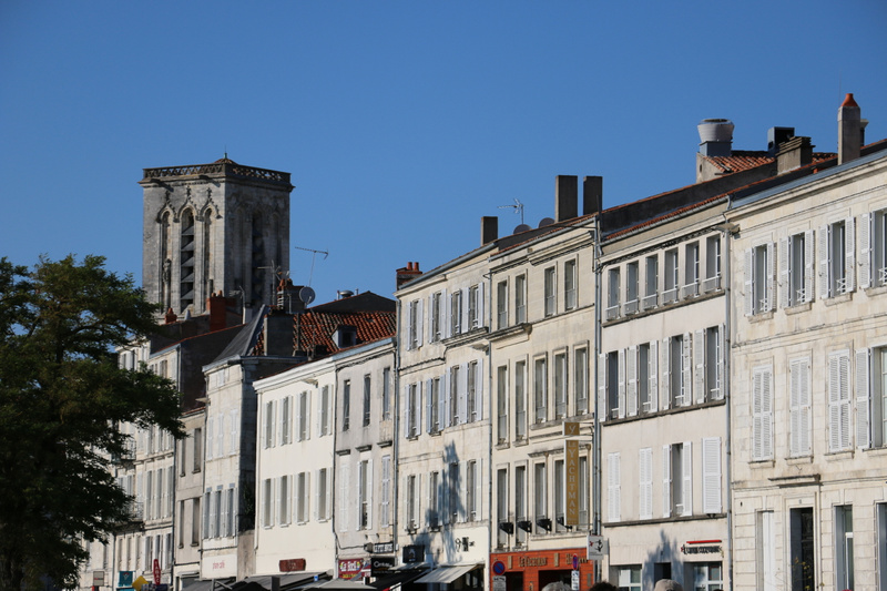 Old, harbor facing buildings on Quay Maubec