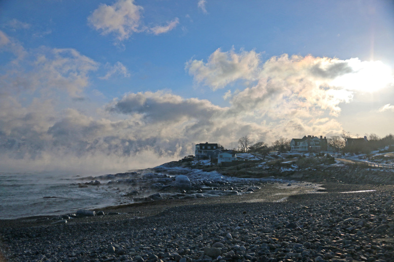 Black Rock Beach-Super chilled condensation sweeps off the ocean over ice covered rocks