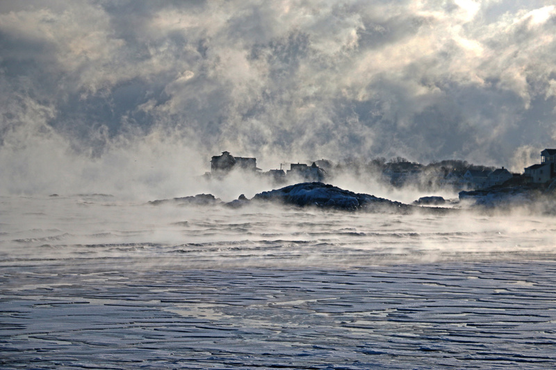 Hull: Fog and ice crystals sweep over Gunrock as the ocean freezes over