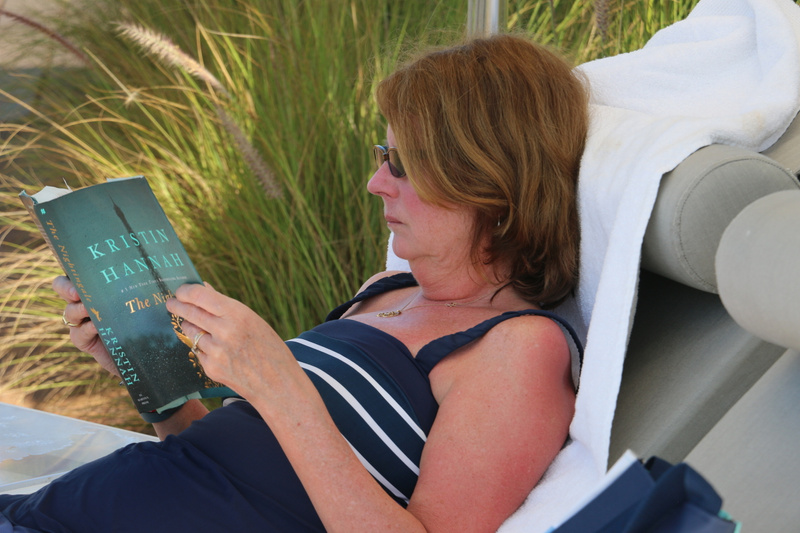 Margie lost in her book at our La Punta base camp (Tuesday)