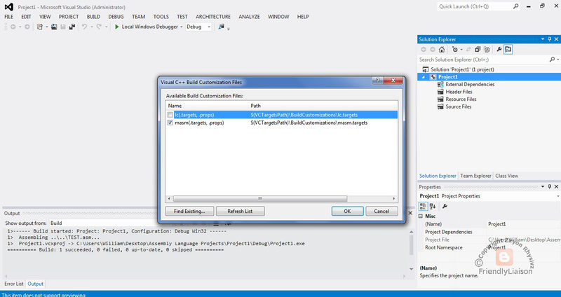 Using MASM with Microsoft Visual Studio 2012 by