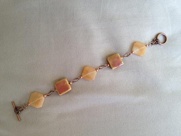 Peach_Aventurine_and_Ceramic_Copper_Bracelet_d by...