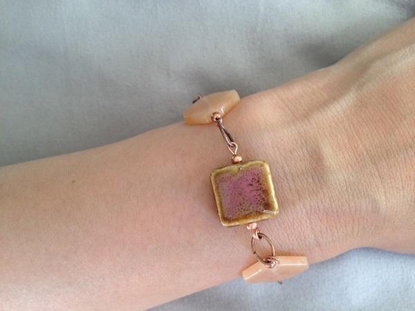 Peach_Aventurine_and_Ceramic_Copper_Bracelet by...