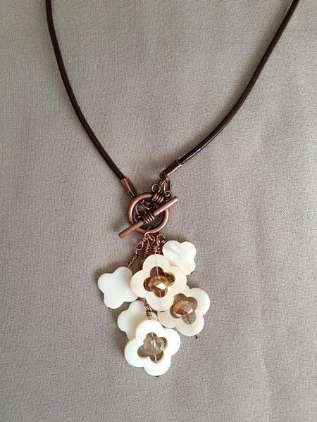 Quatrefoil_Bronze_Brown_Leather_Necklace by MiroirDesigns