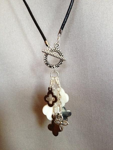 Quatrefoil_Clover_Dangle_leather_cord_Necklace_Close by...